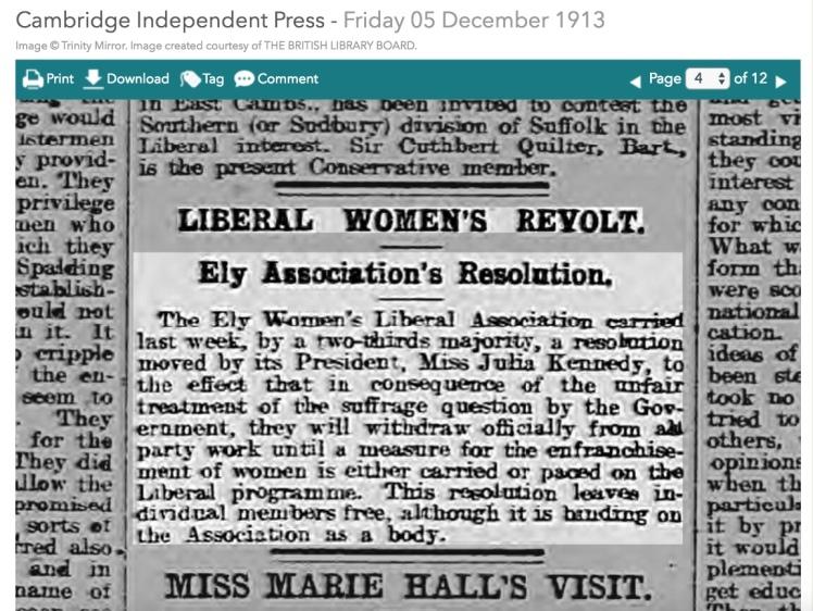 131205 Julia Kennedy Ely Liberals Boycott